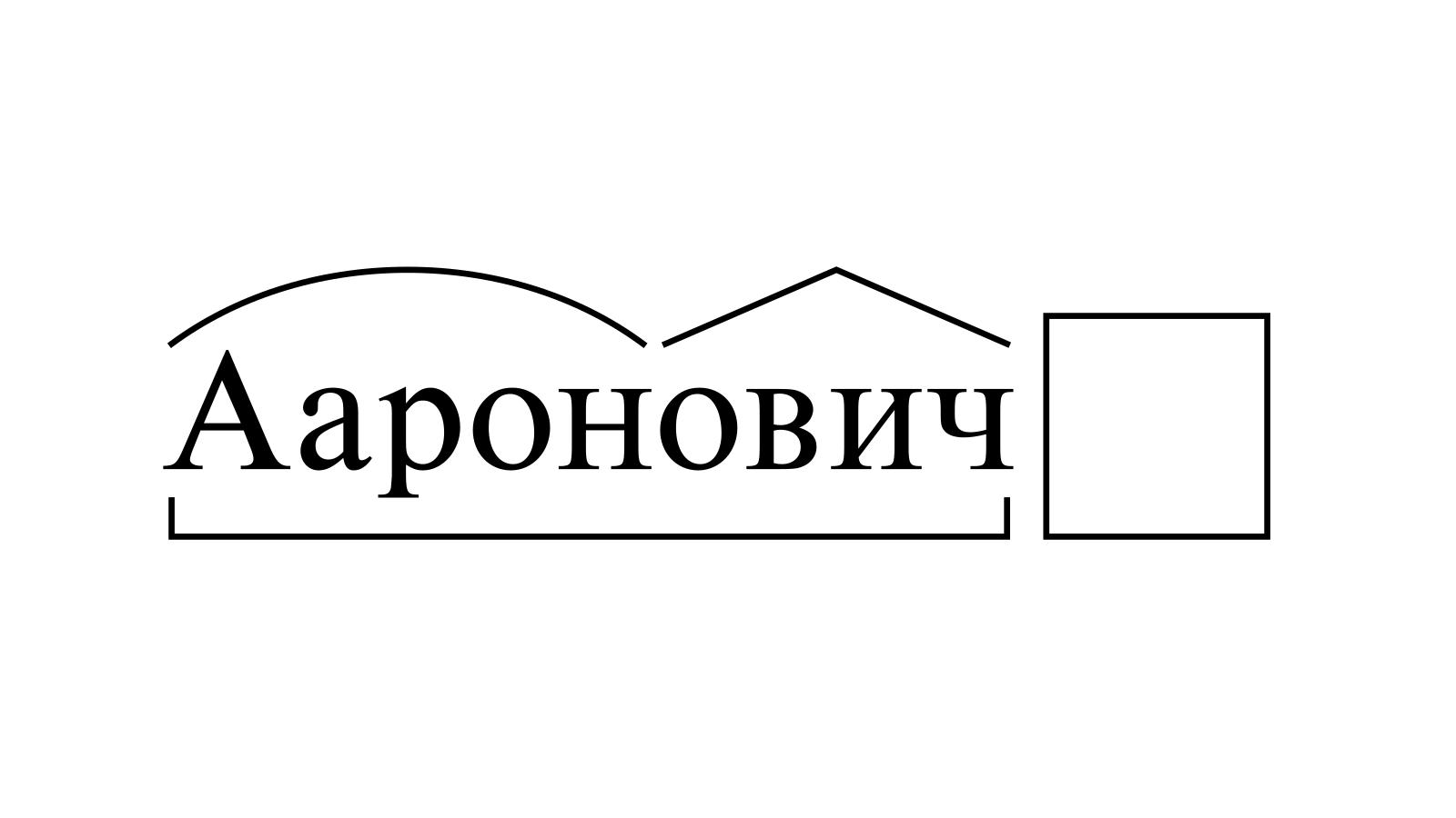 Разбор слова «Ааронович» по составу