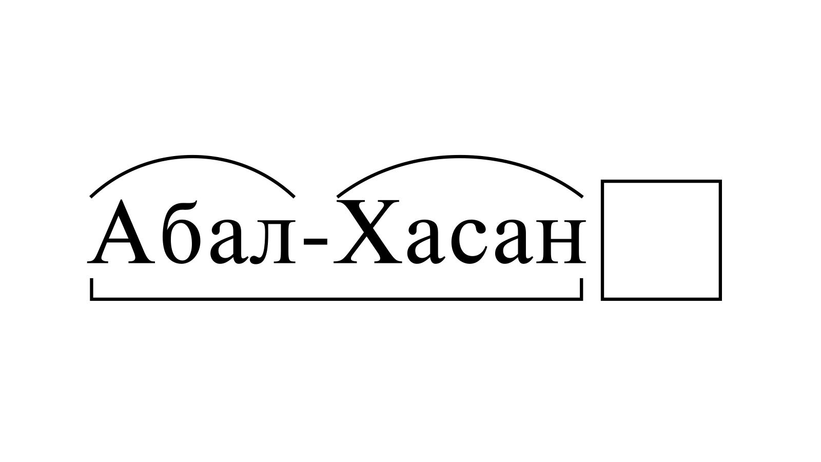 Разбор слова «Абал-Хасан» по составу