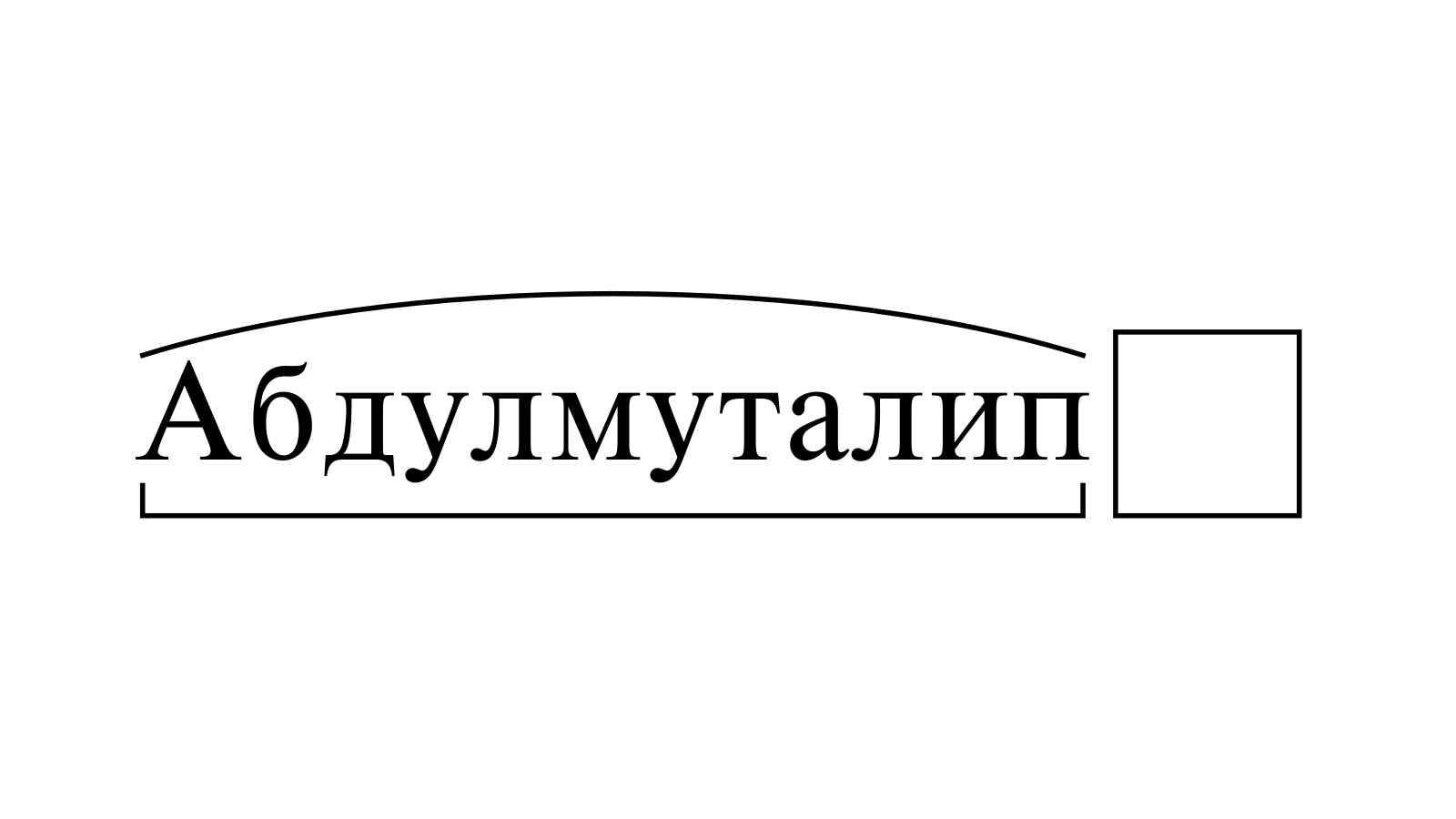 Разбор слова «Абдулмуталип» по составу