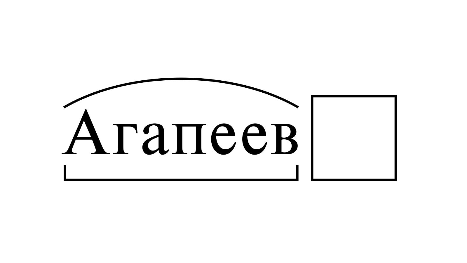 Разбор слова «Агапеев» по составу