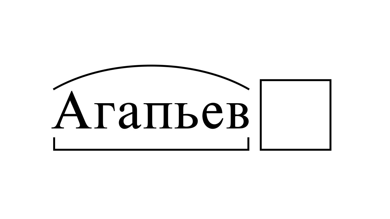 Разбор слова «Агапьев» по составу