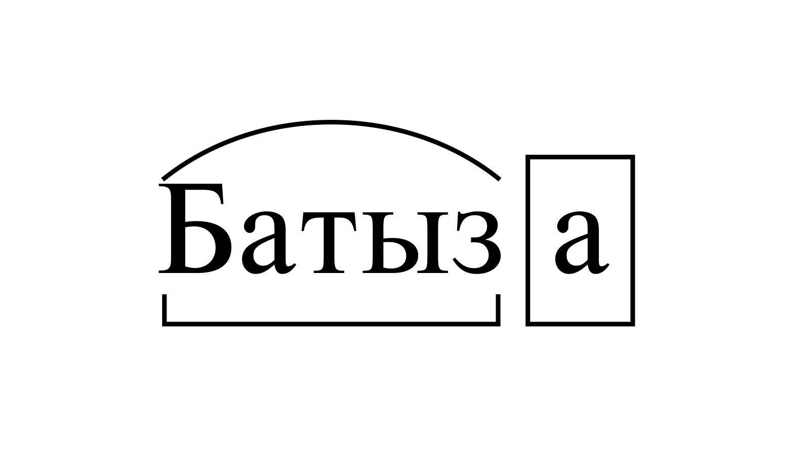 Разбор слова «Батыза» по составу