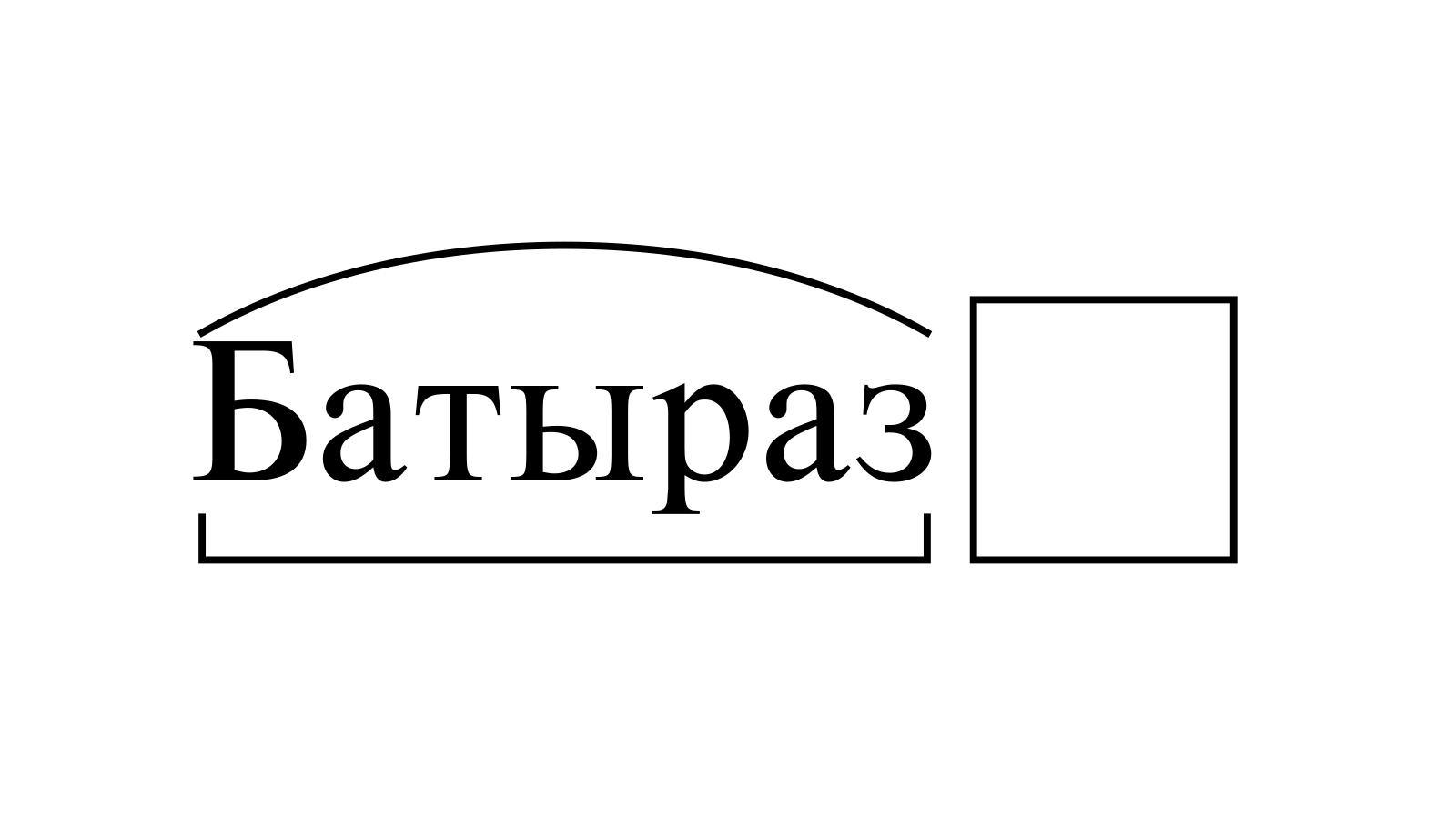 Разбор слова «Батыраз» по составу