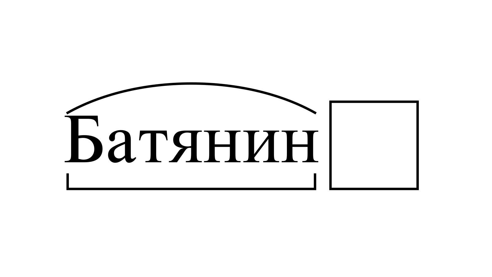 Разбор слова «Батянин» по составу
