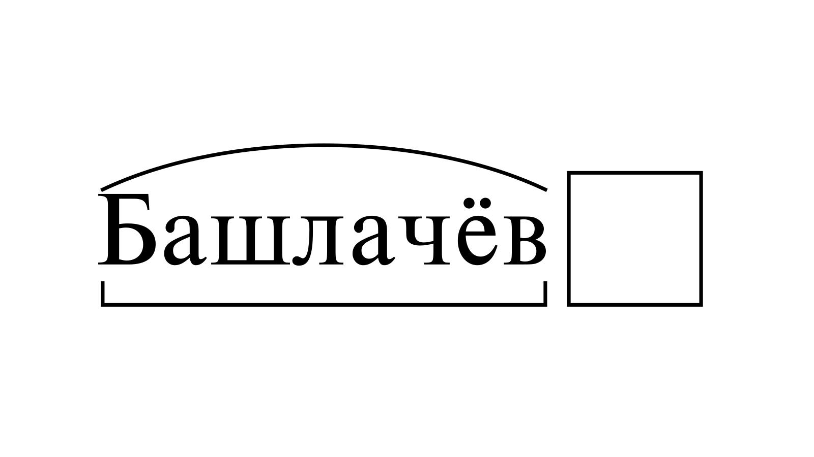 Разбор слова «Башлачёв» по составу