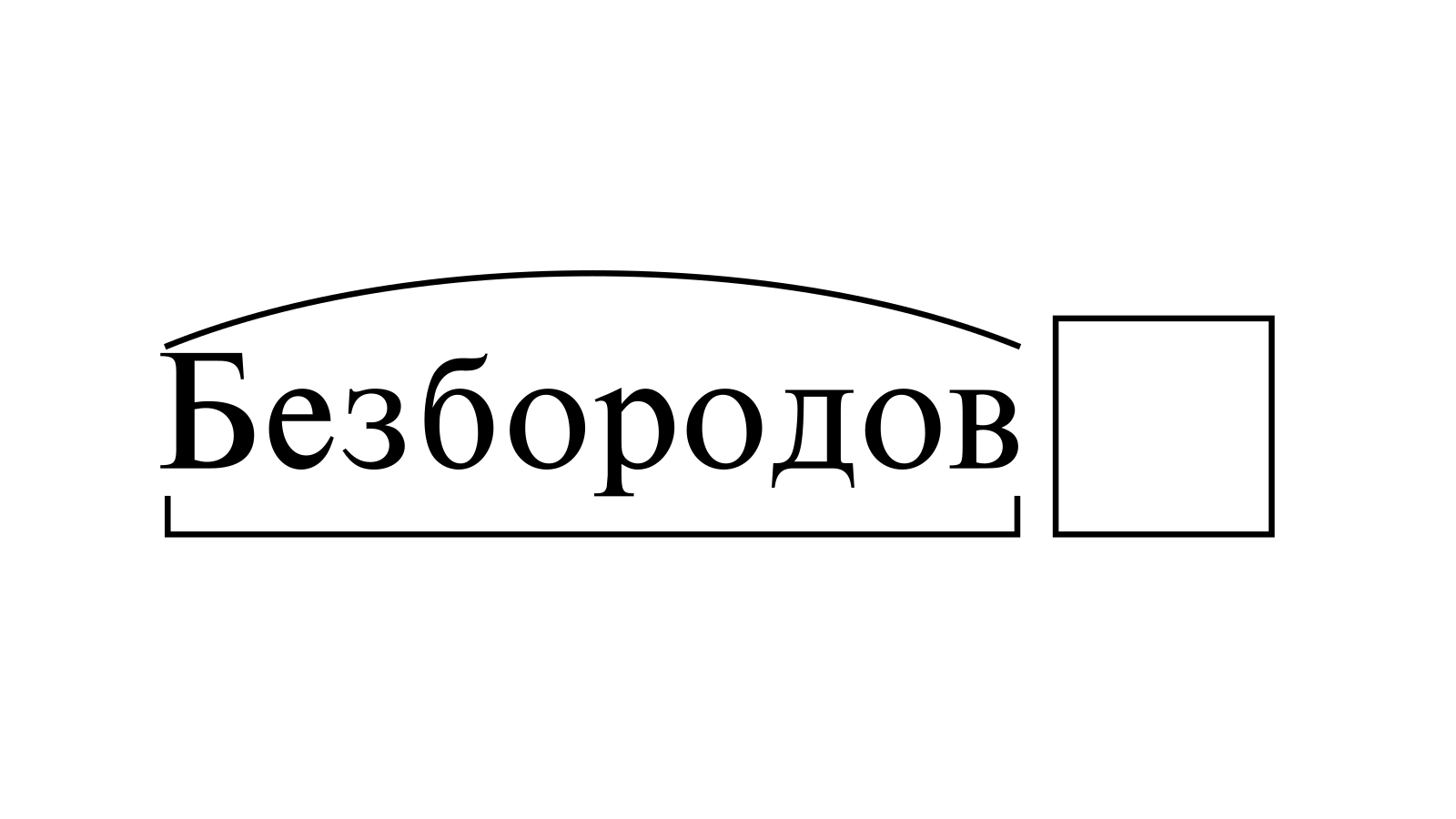 Разбор слова «Безбородов» по составу