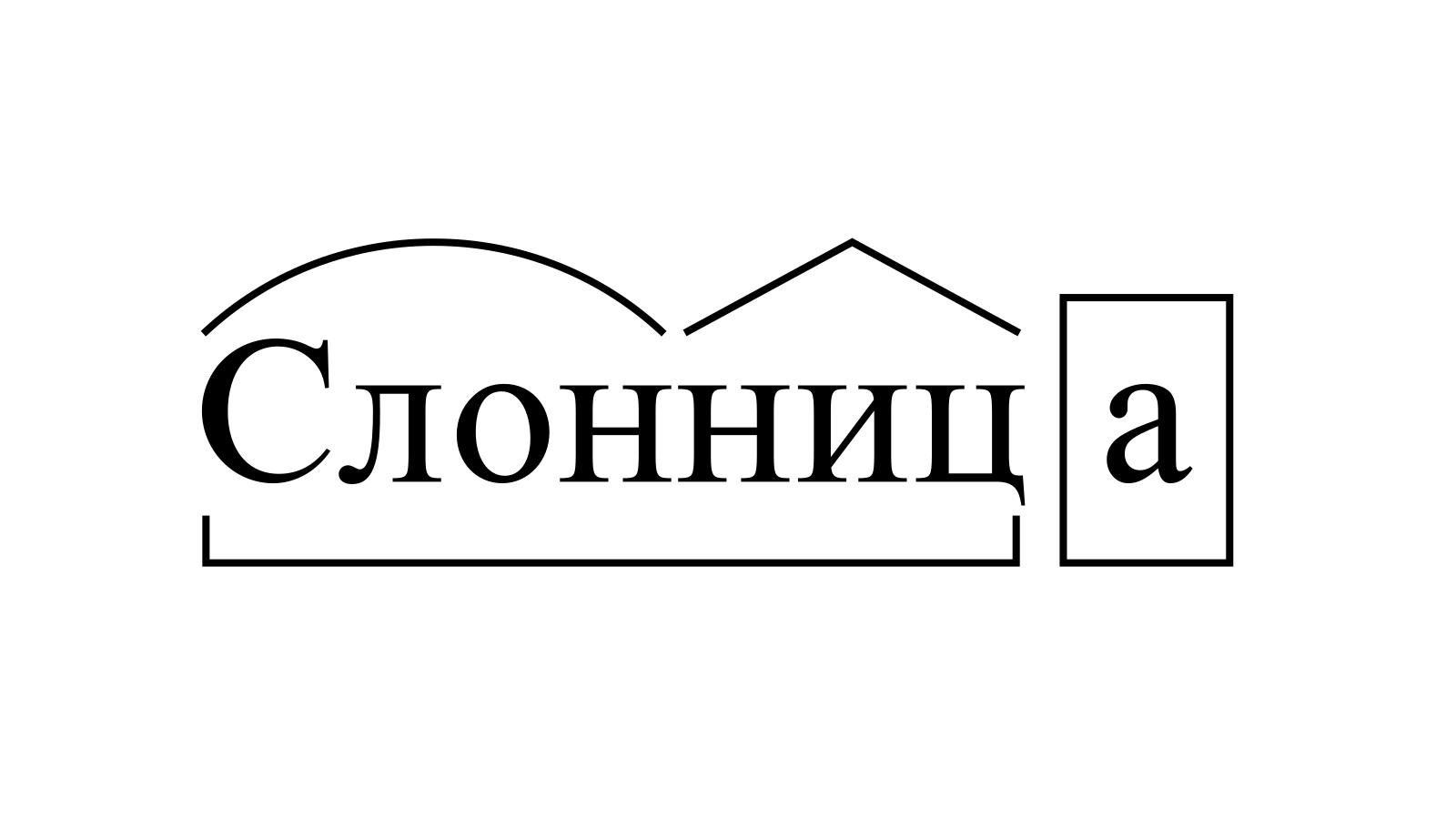 Разбор слова «Слонница» по составу