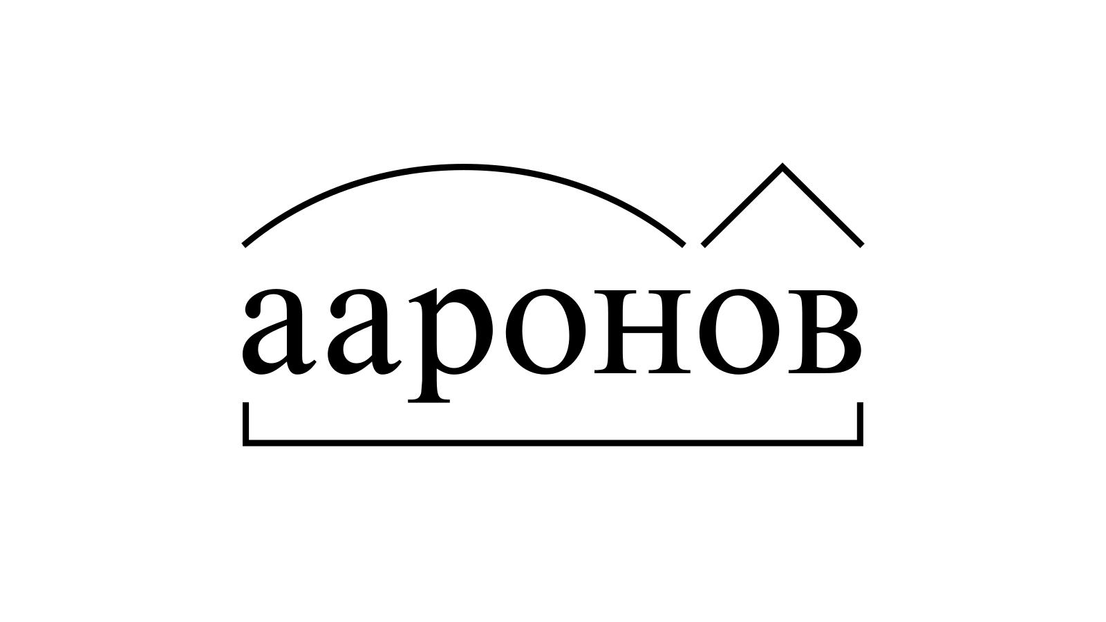 Разбор слова «ааронов» по составу