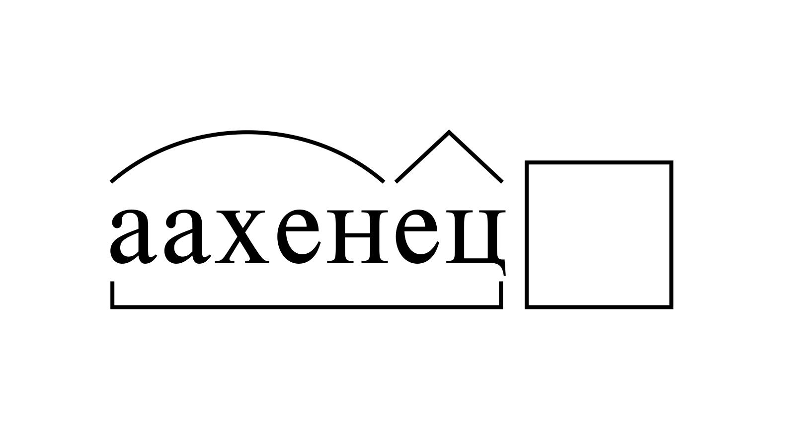 Разбор слова «аахенец» по составу