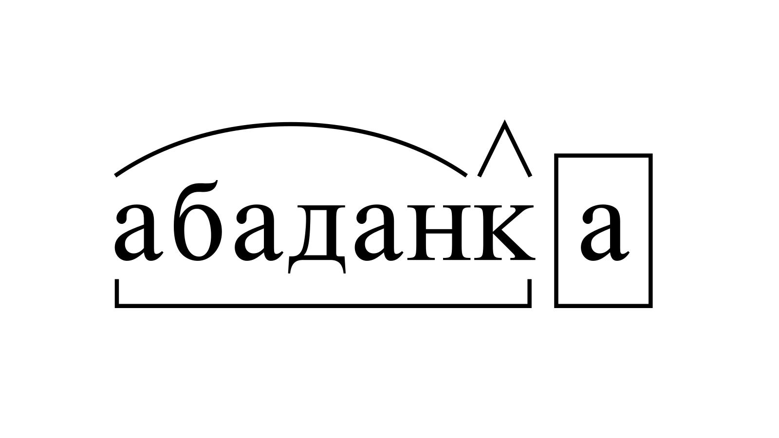 Разбор слова «абаданка» по составу