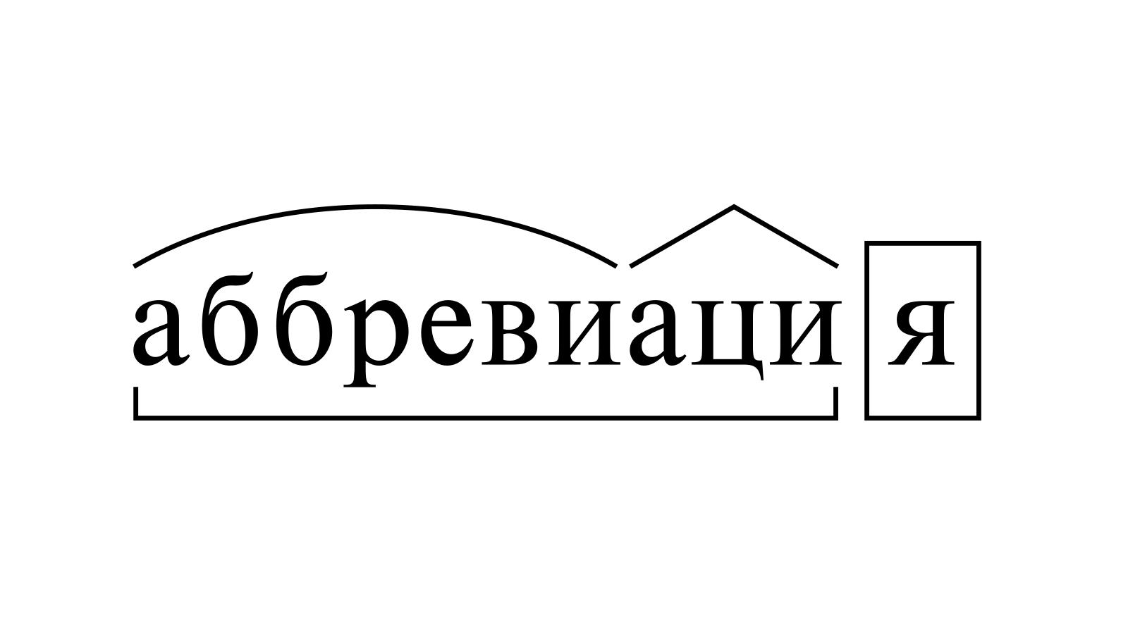 Разбор слова «аббревиация» по составу
