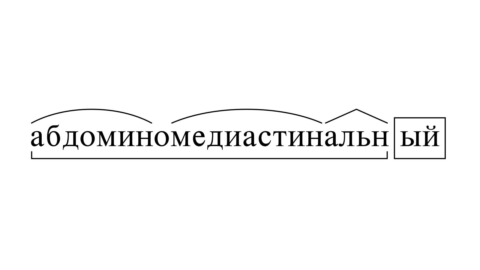 Разбор слова «абдоминомедиастинальный» по составу