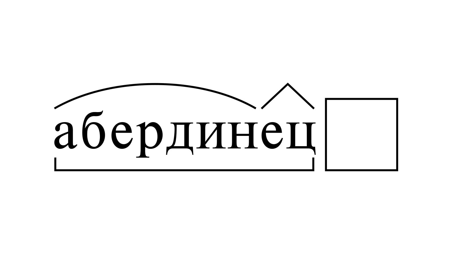 Разбор слова «абердинец» по составу