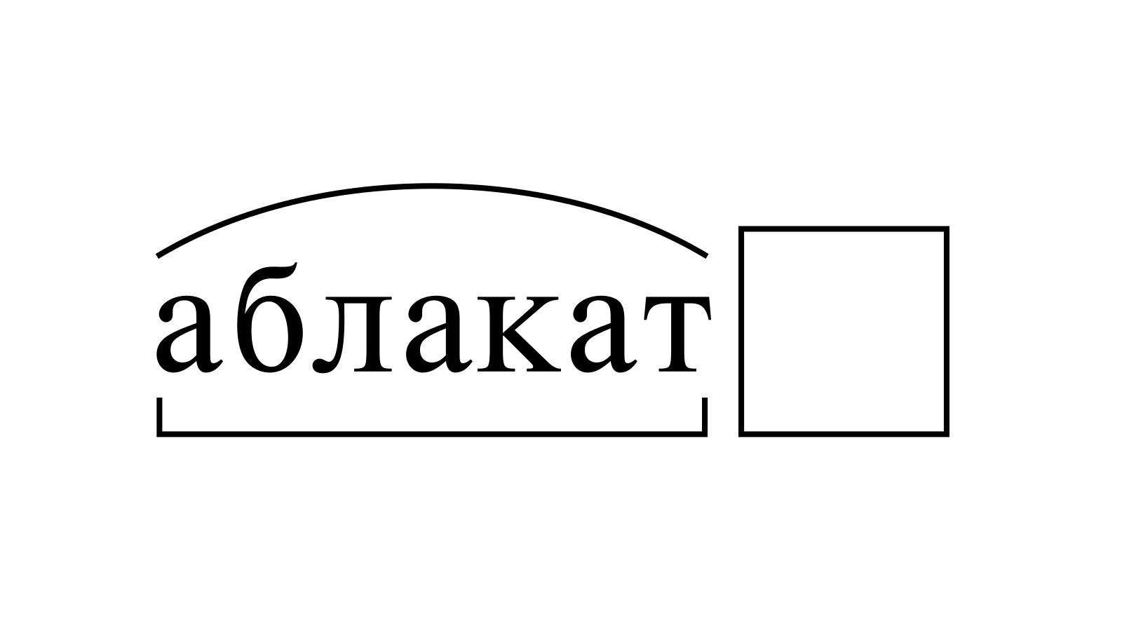 Разбор слова «аблакат» по составу