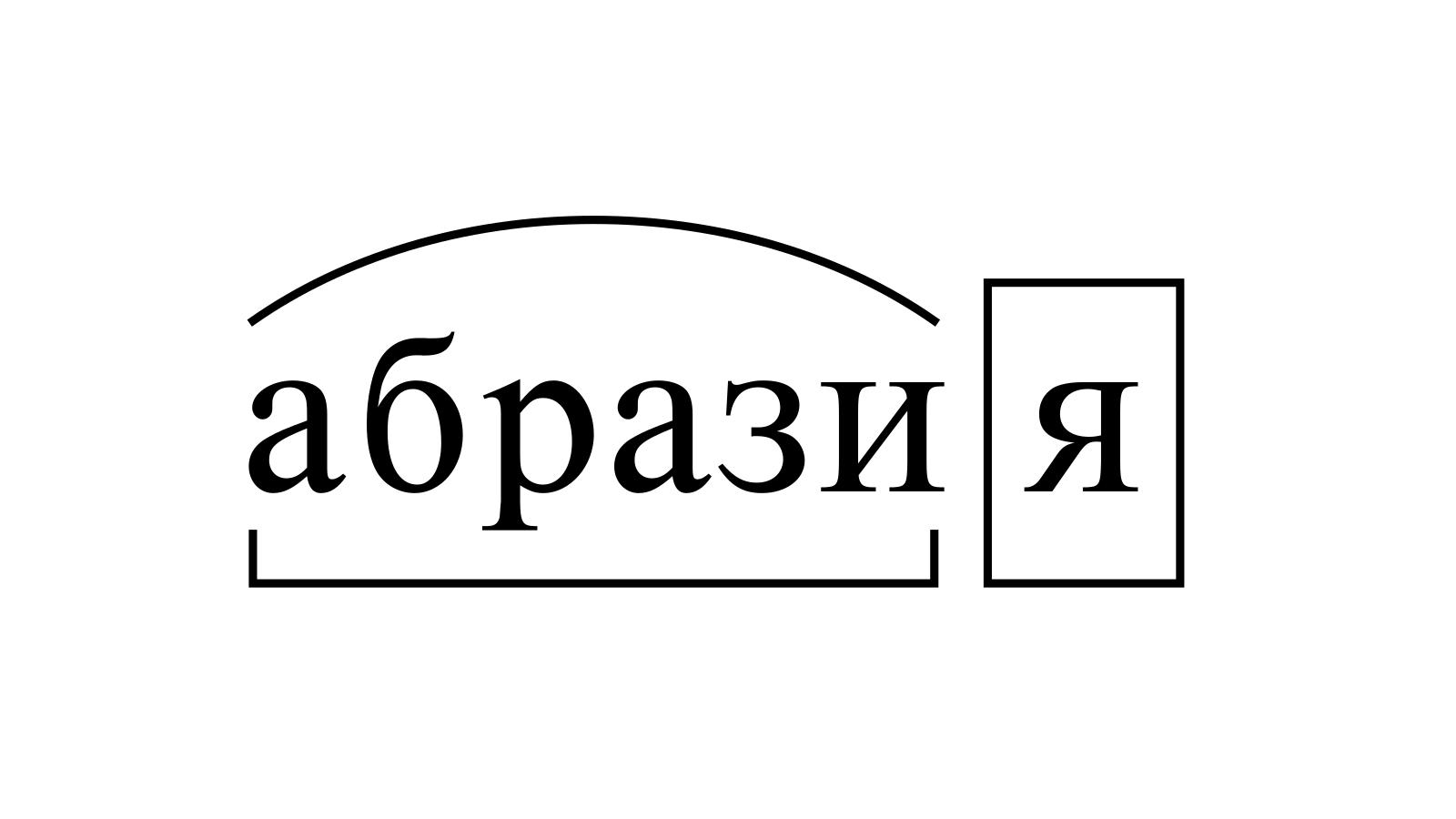 Разбор слова «абразия» по составу