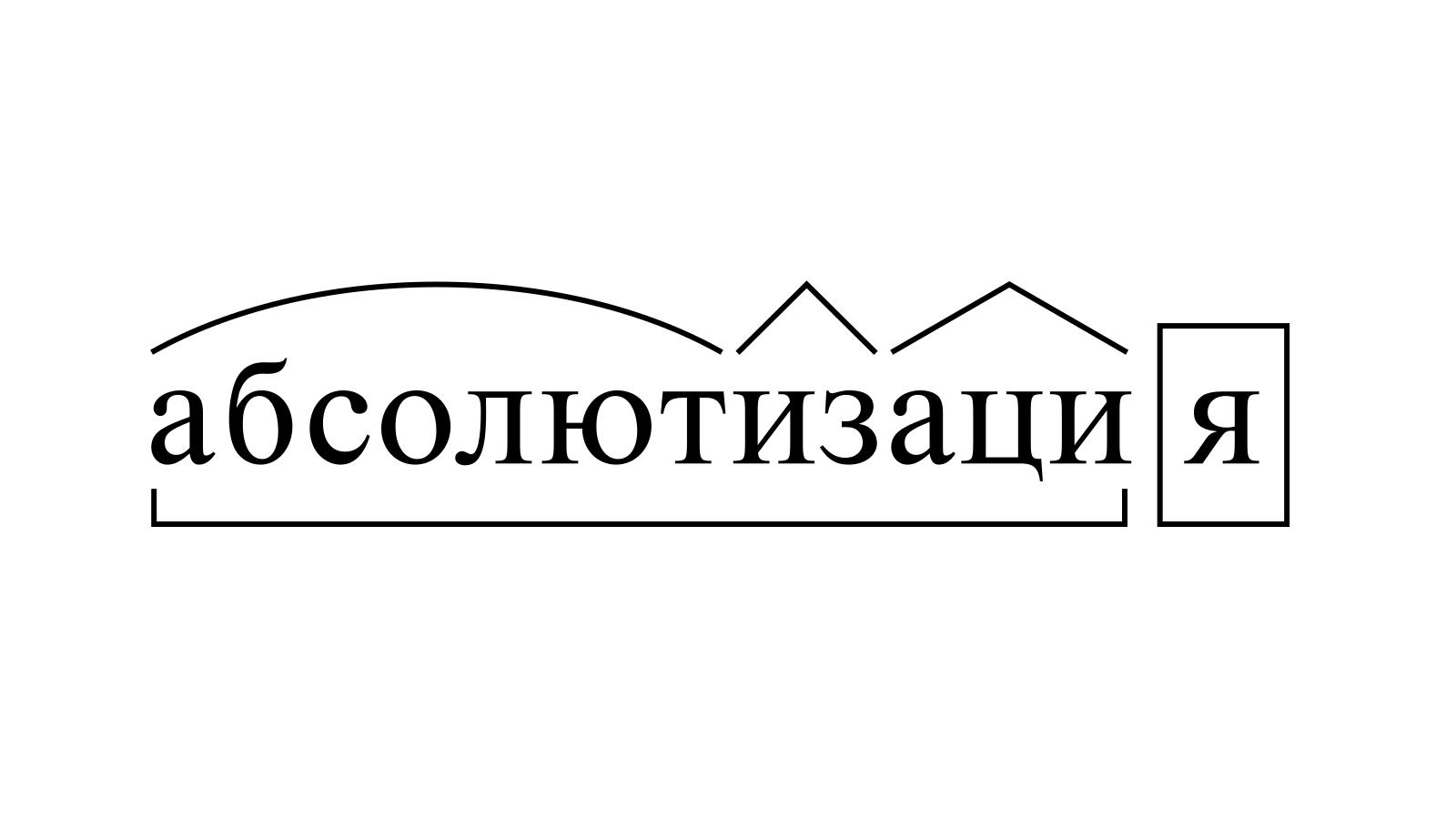 Разбор слова «абсолютизация» по составу