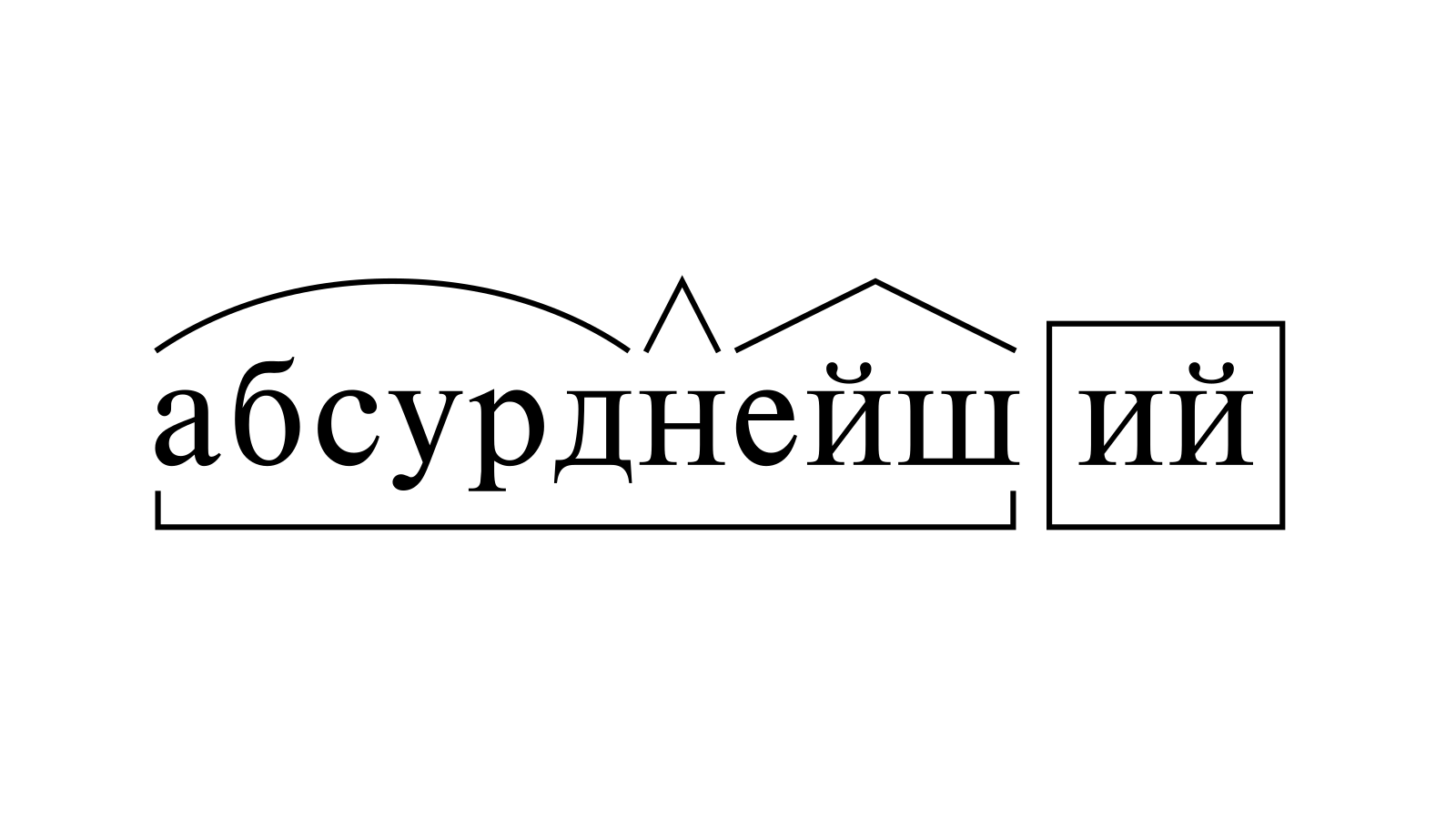 Разбор слова «абсурднейший» по составу