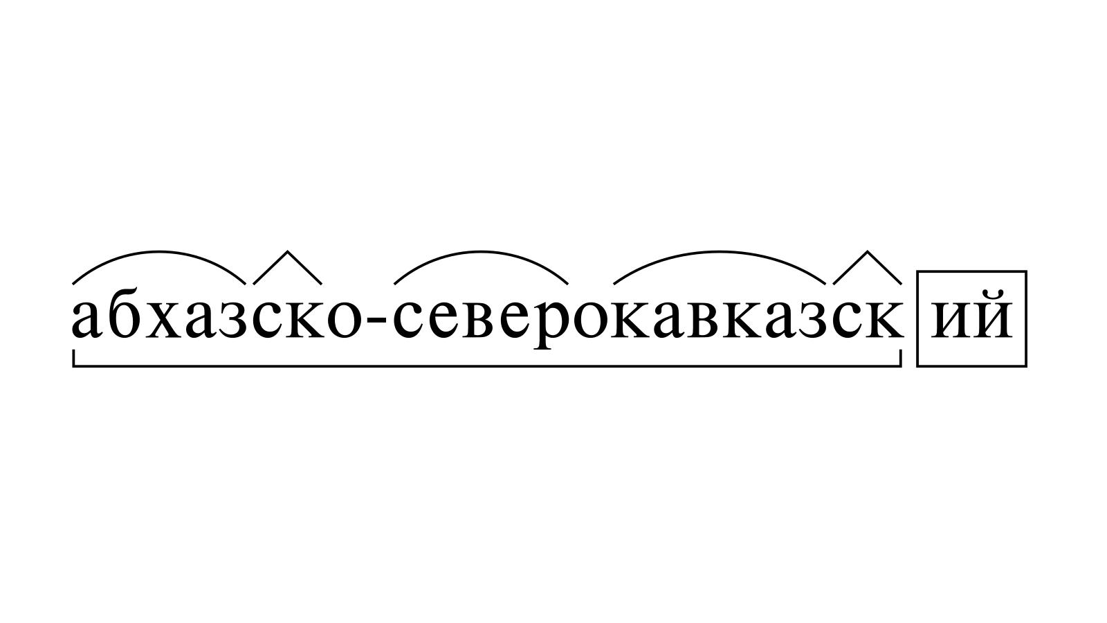 Разбор слова «абхазско-северокавказский» по составу
