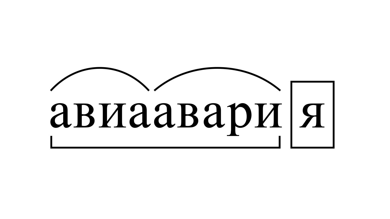 Разбор слова «авиаавария» по составу