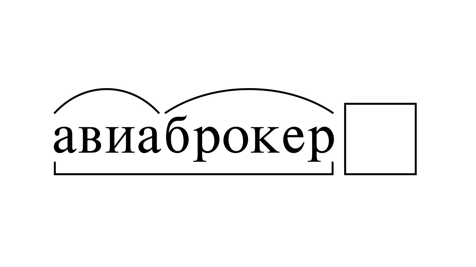 Разбор слова «авиаброкер» по составу