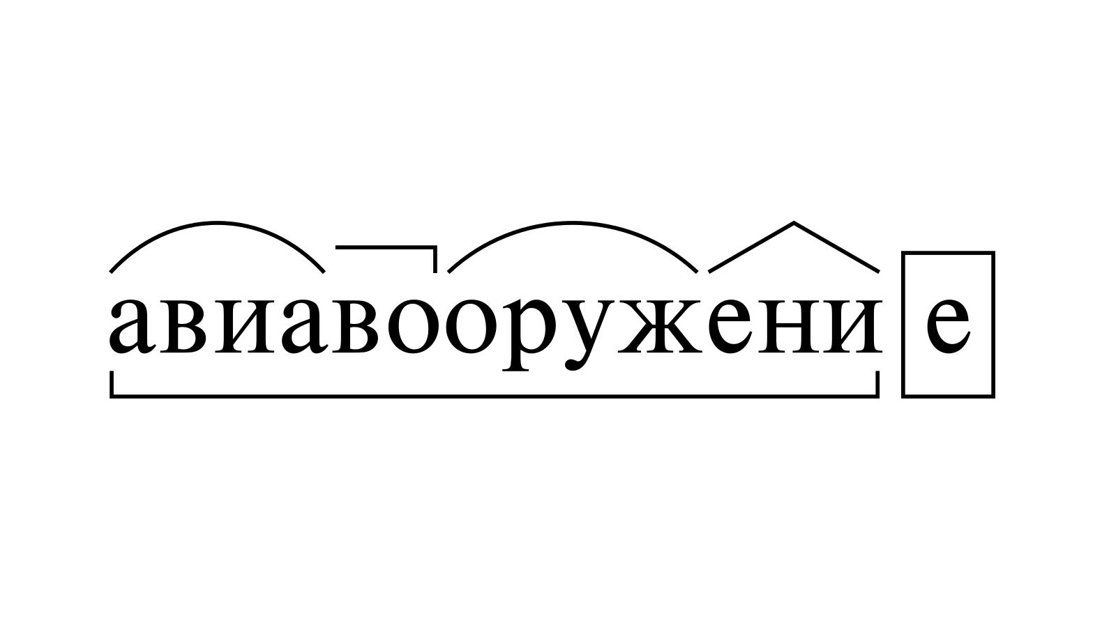 Разбор слова «авиавооружение» по составу