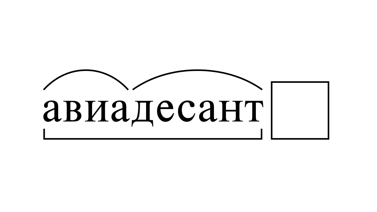 Разбор слова «авиадесант» по составу