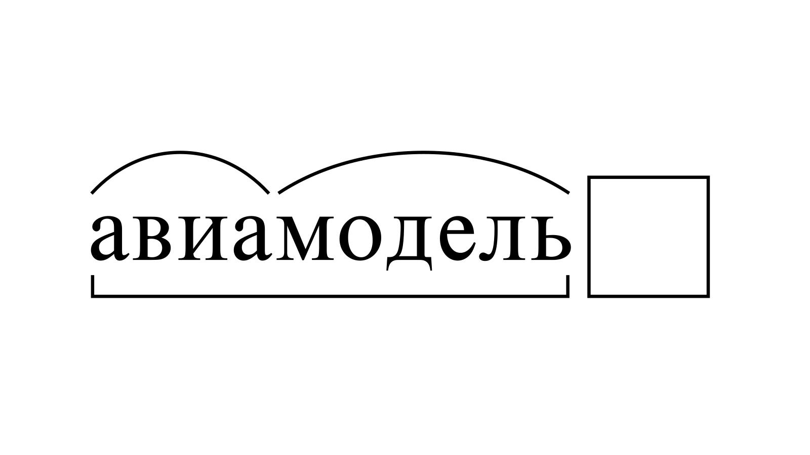 Разбор слова «авиамодель» по составу
