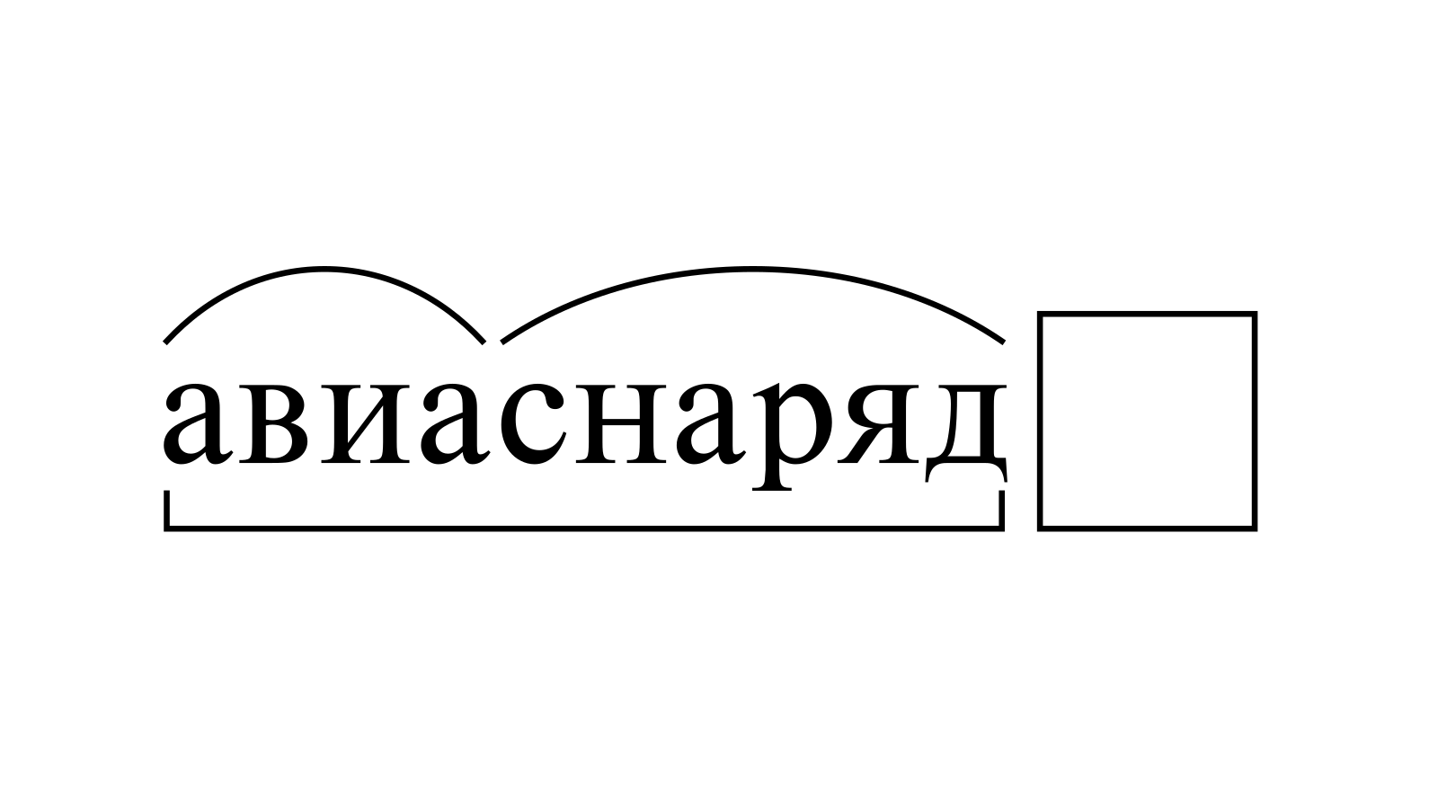 Разбор слова «авиаснаряд» по составу