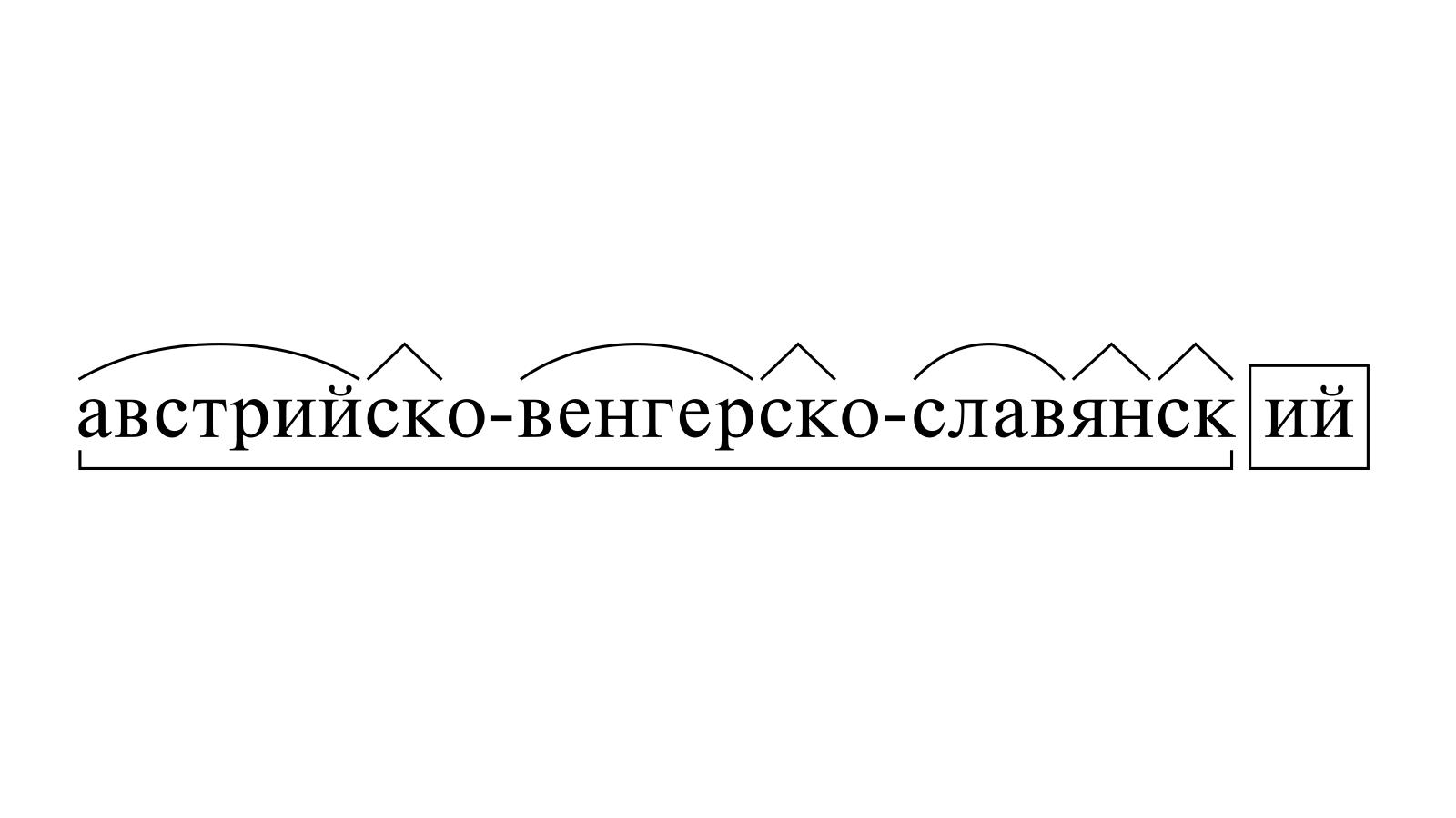 Разбор слова «австрийско-венгерско-славянский» по составу