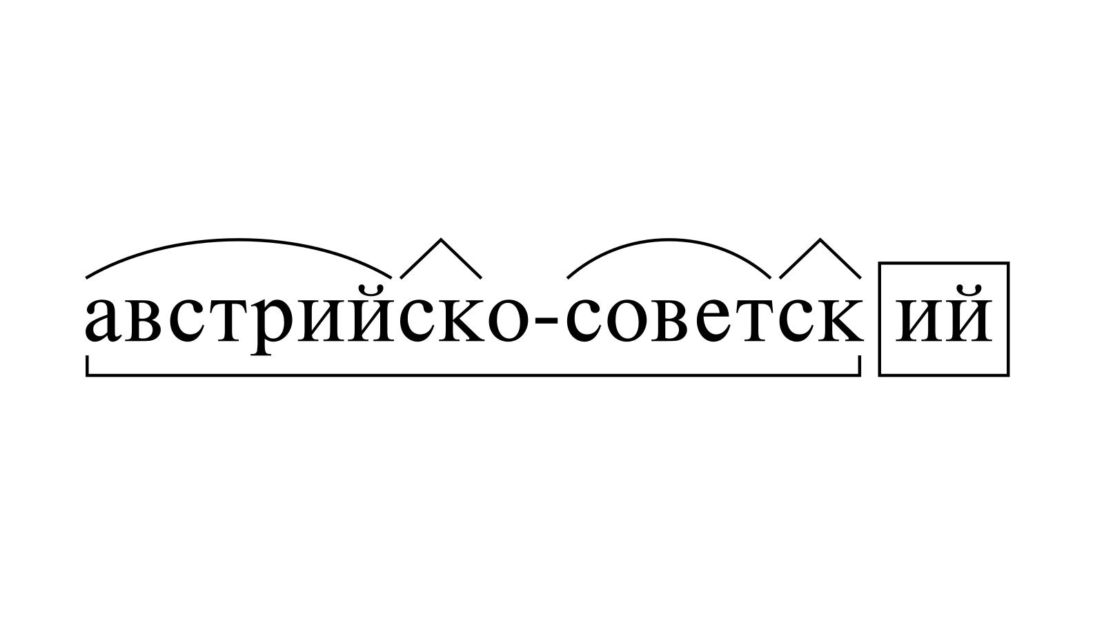 Разбор слова «австрийско-советский» по составу