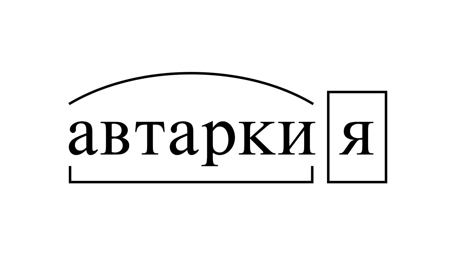 Разбор слова «автаркия» по составу