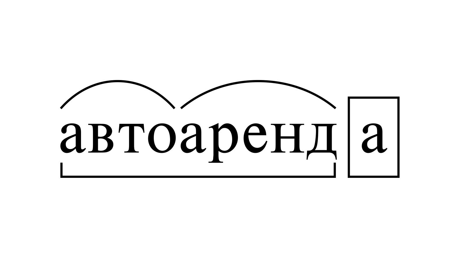 Разбор слова «автоаренда» по составу