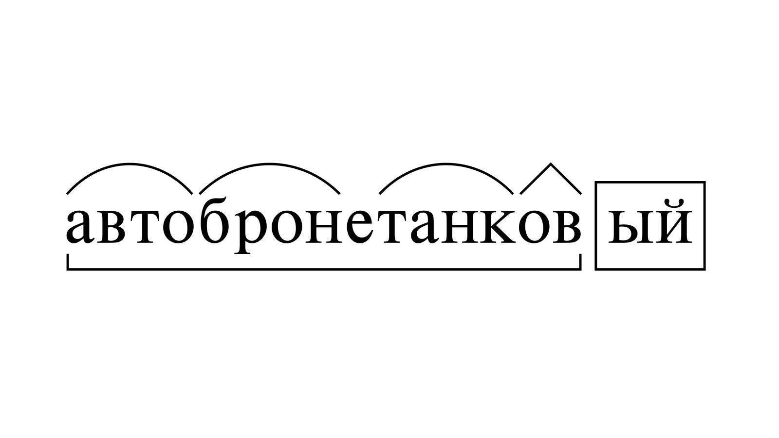 Разбор слова «автобронетанковый» по составу