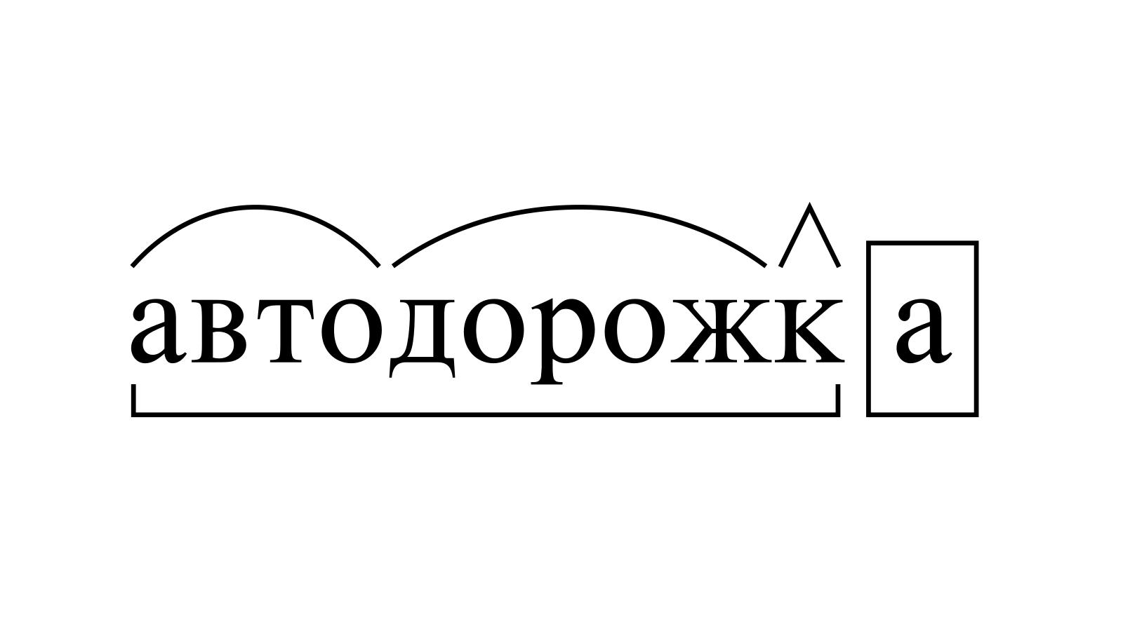Разбор слова «автодорожка» по составу