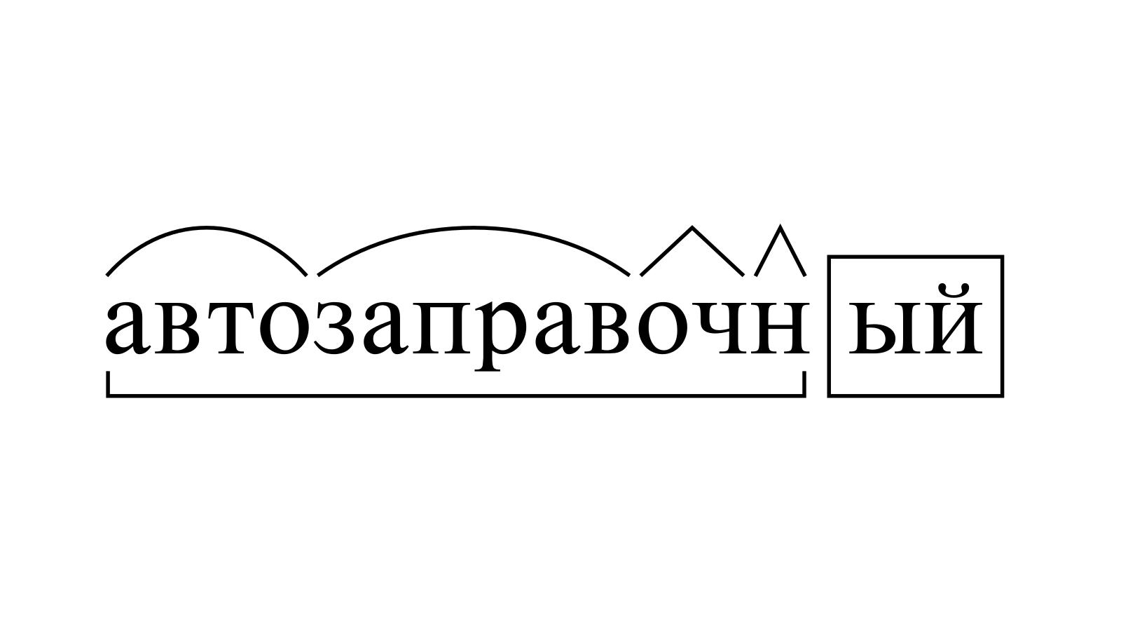Разбор слова «автозаправочный» по составу