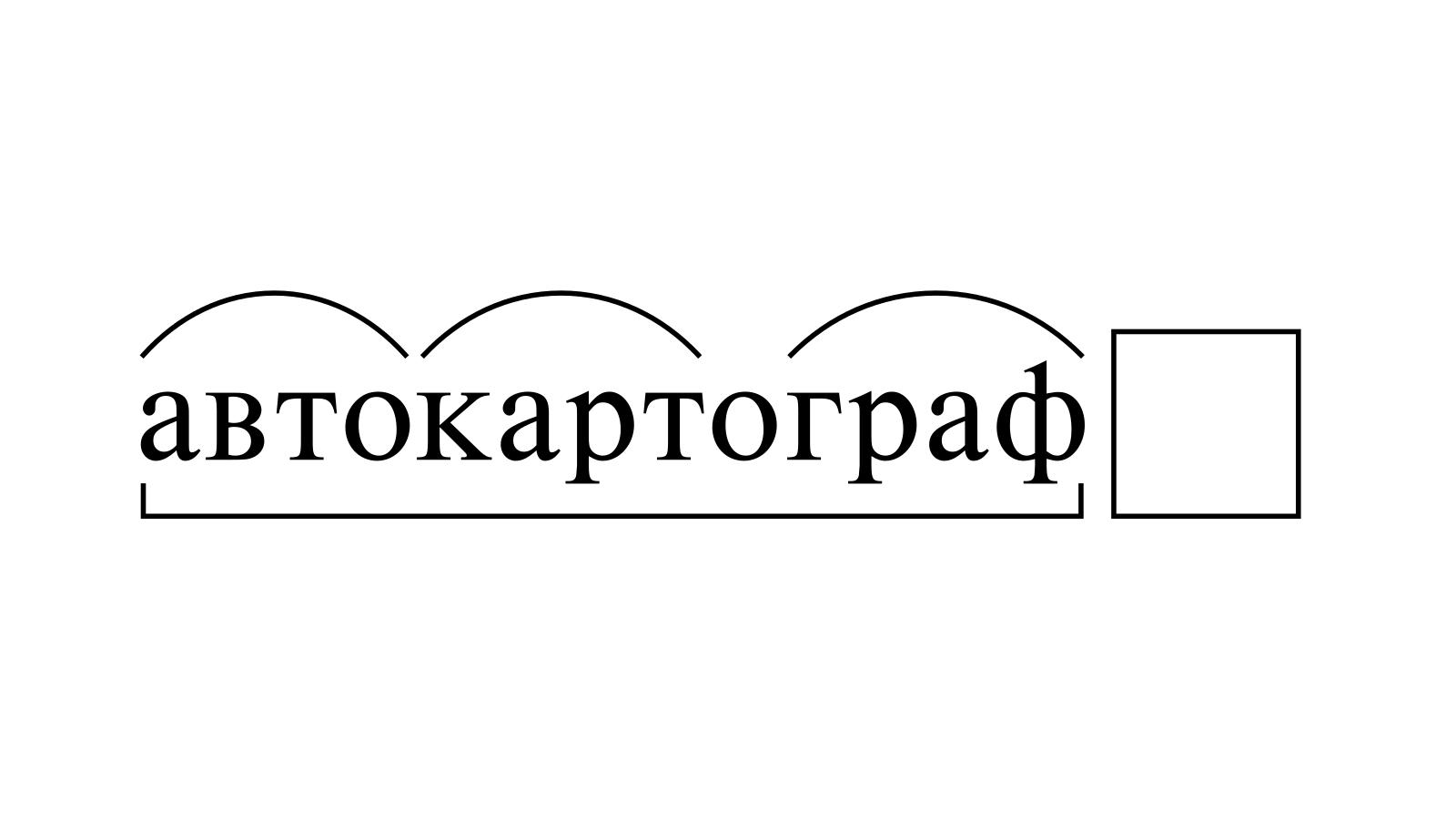 Разбор слова «автокартограф» по составу