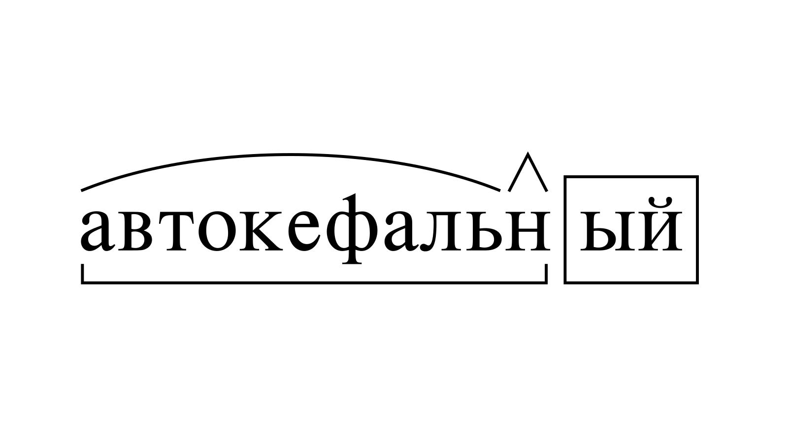 Разбор слова «автокефальный» по составу