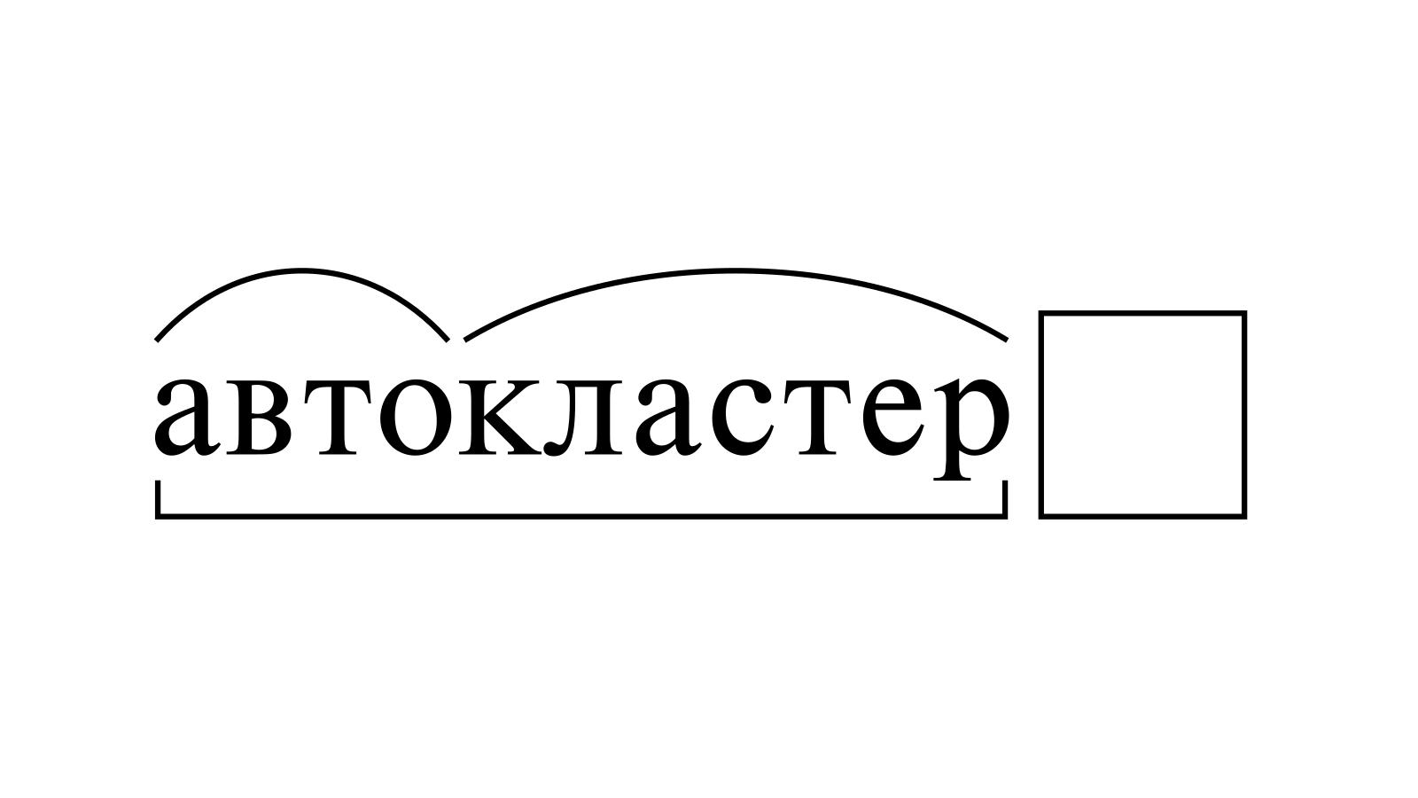 Разбор слова «автокластер» по составу