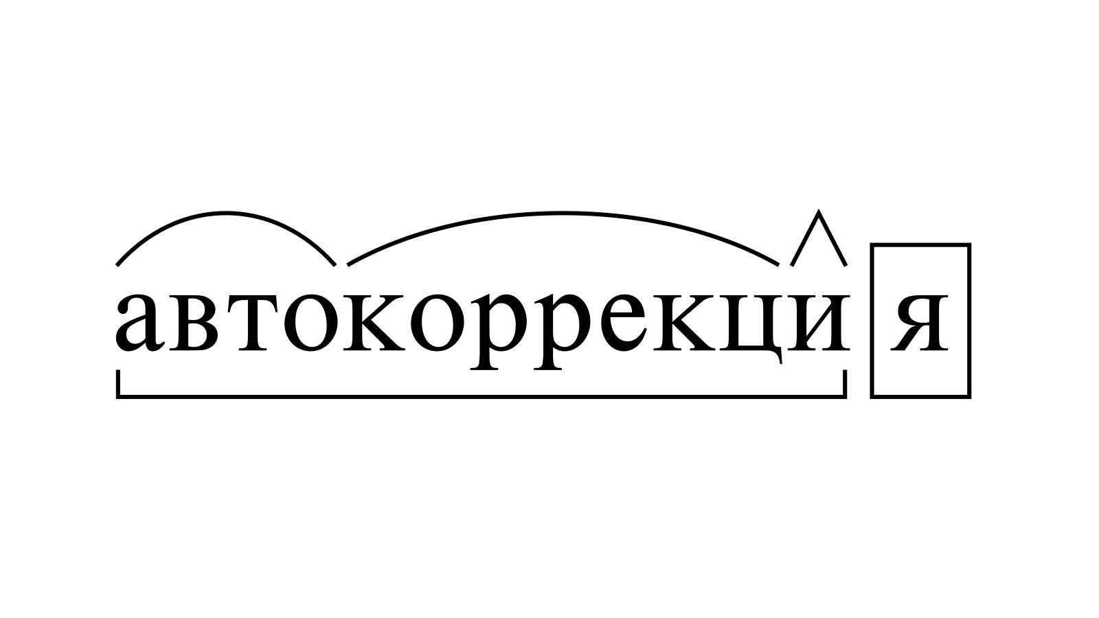Разбор слова «автокоррекция» по составу