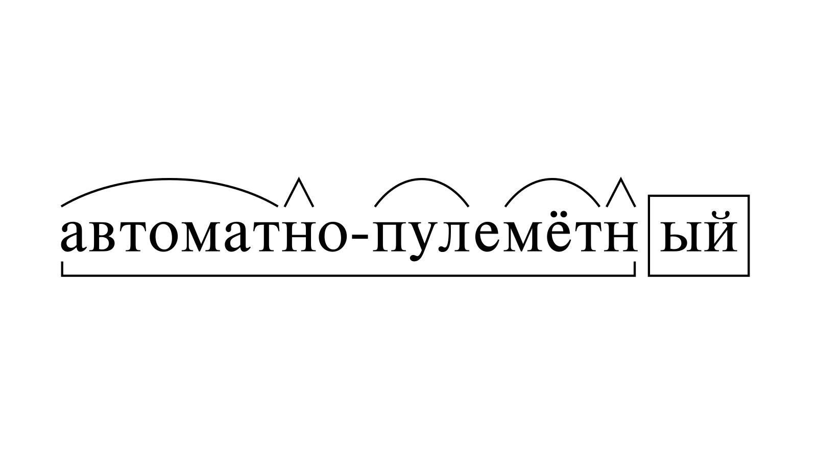 Разбор слова «автоматно-пулемётный» по составу