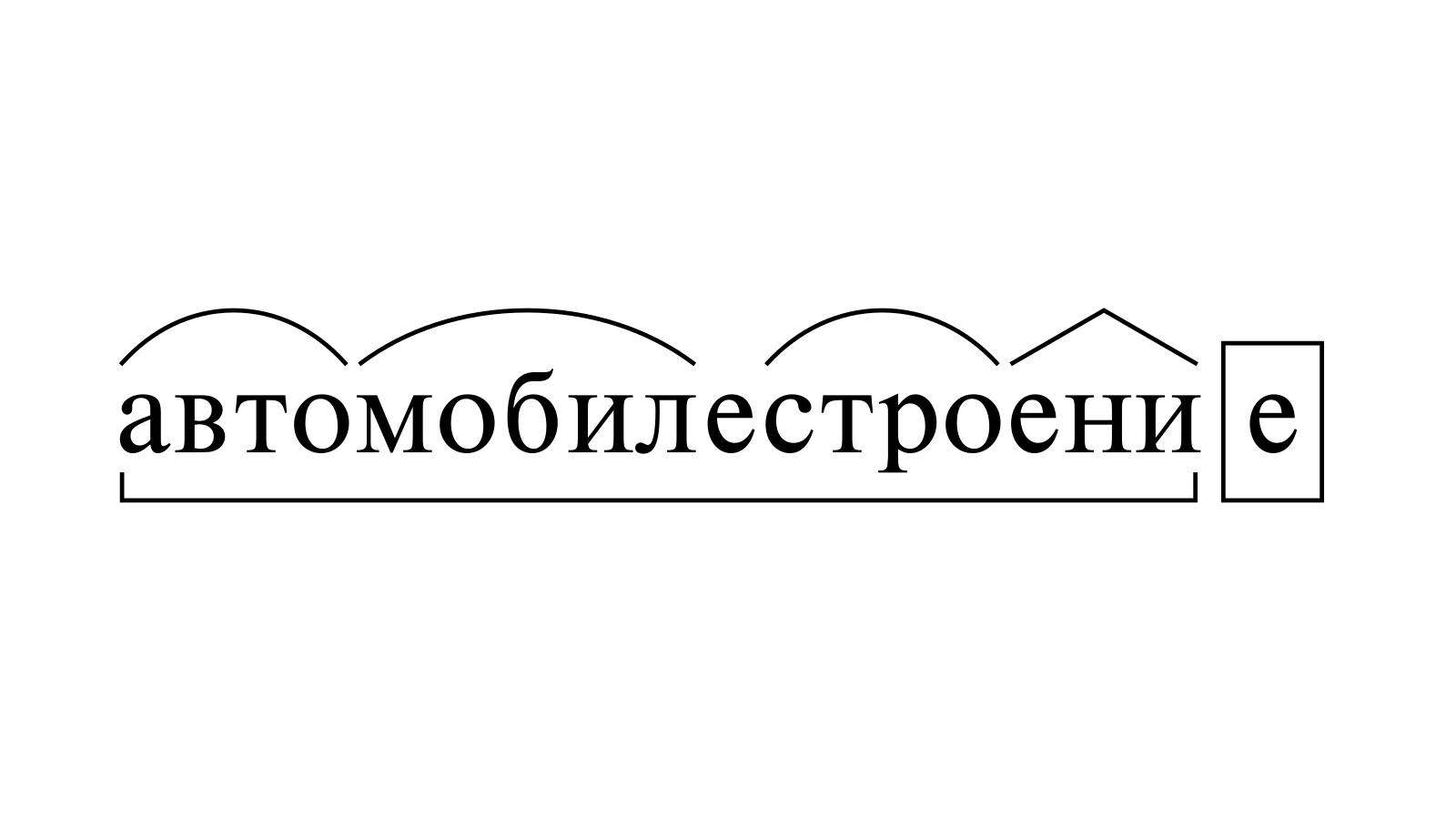 Разбор слова «автомобилестроение» по составу
