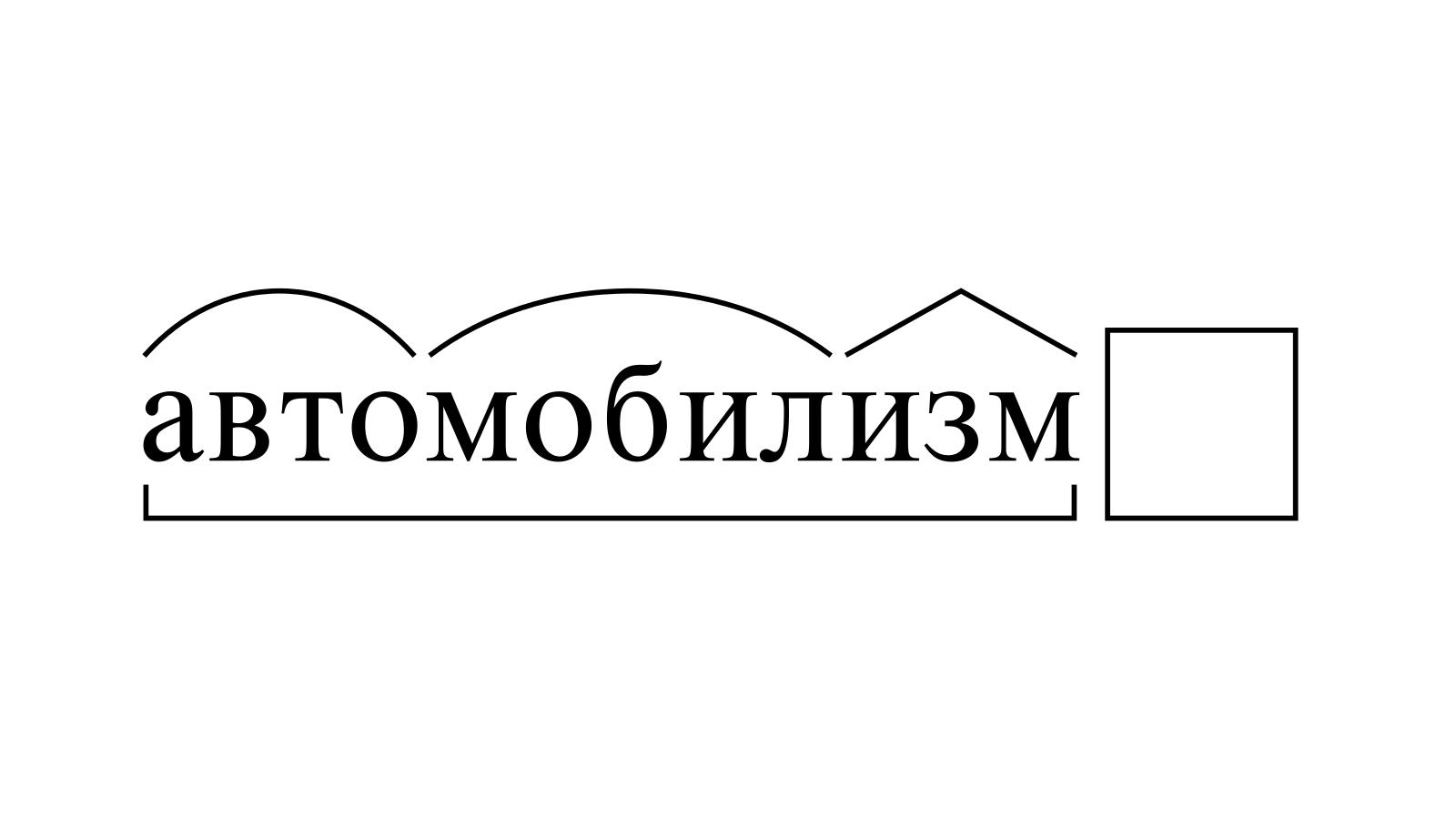 Разбор слова «автомобилизм» по составу