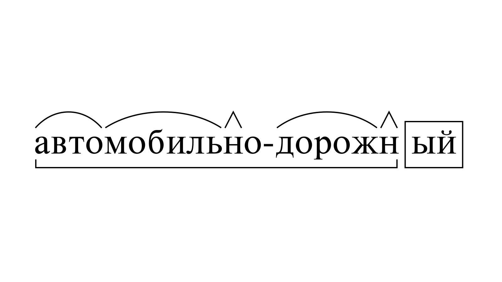 Разбор слова «автомобильно-дорожный» по составу