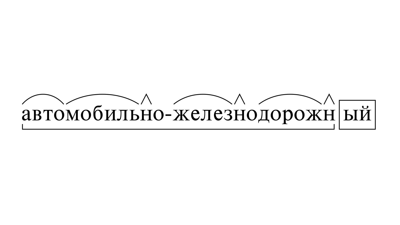 Разбор слова «автомобильно-железнодорожный» по составу