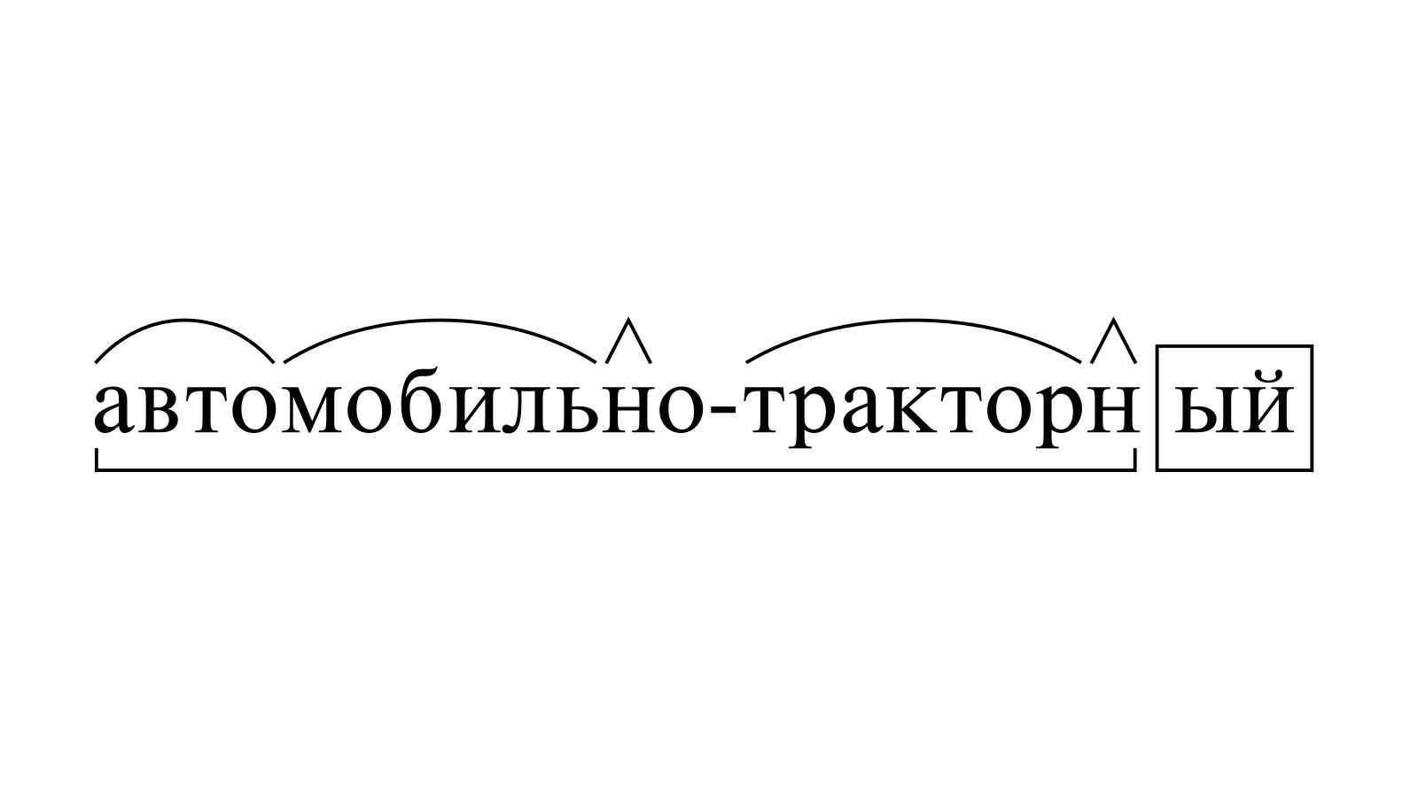 Разбор слова «автомобильно-тракторный» по составу