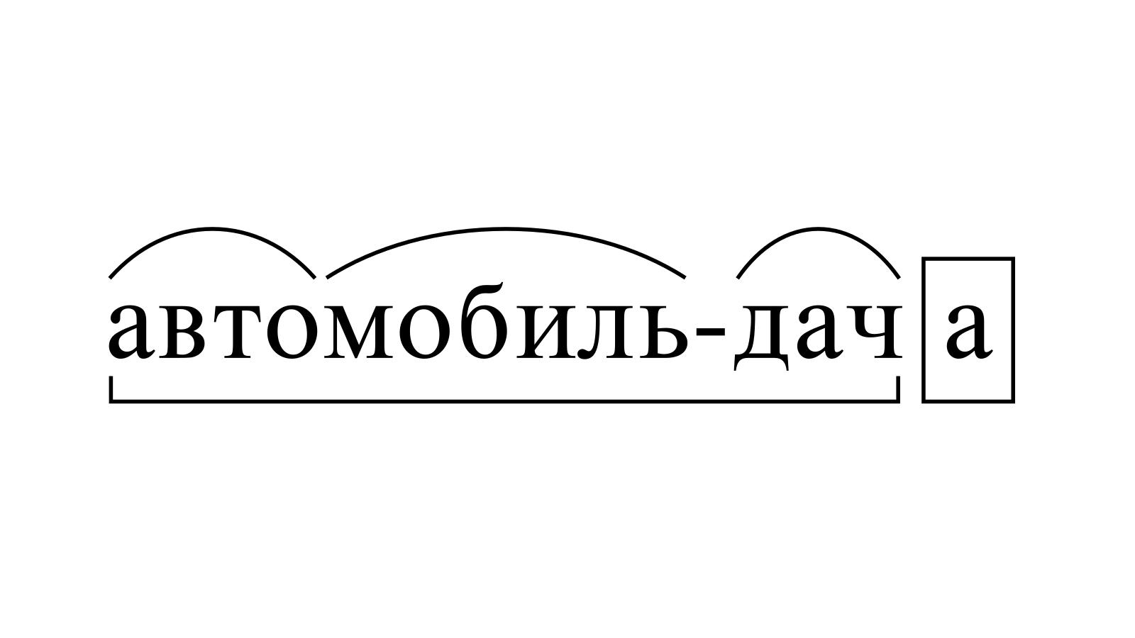 Разбор слова «автомобиль-дача» по составу