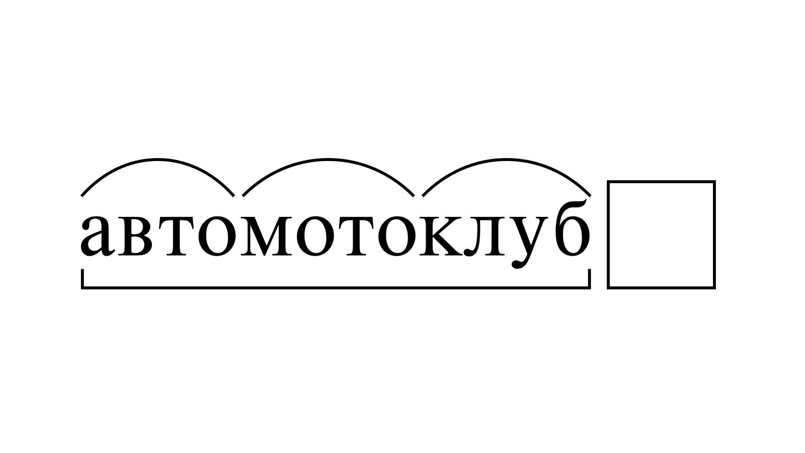 Разбор слова «автомотоклуб» по составу