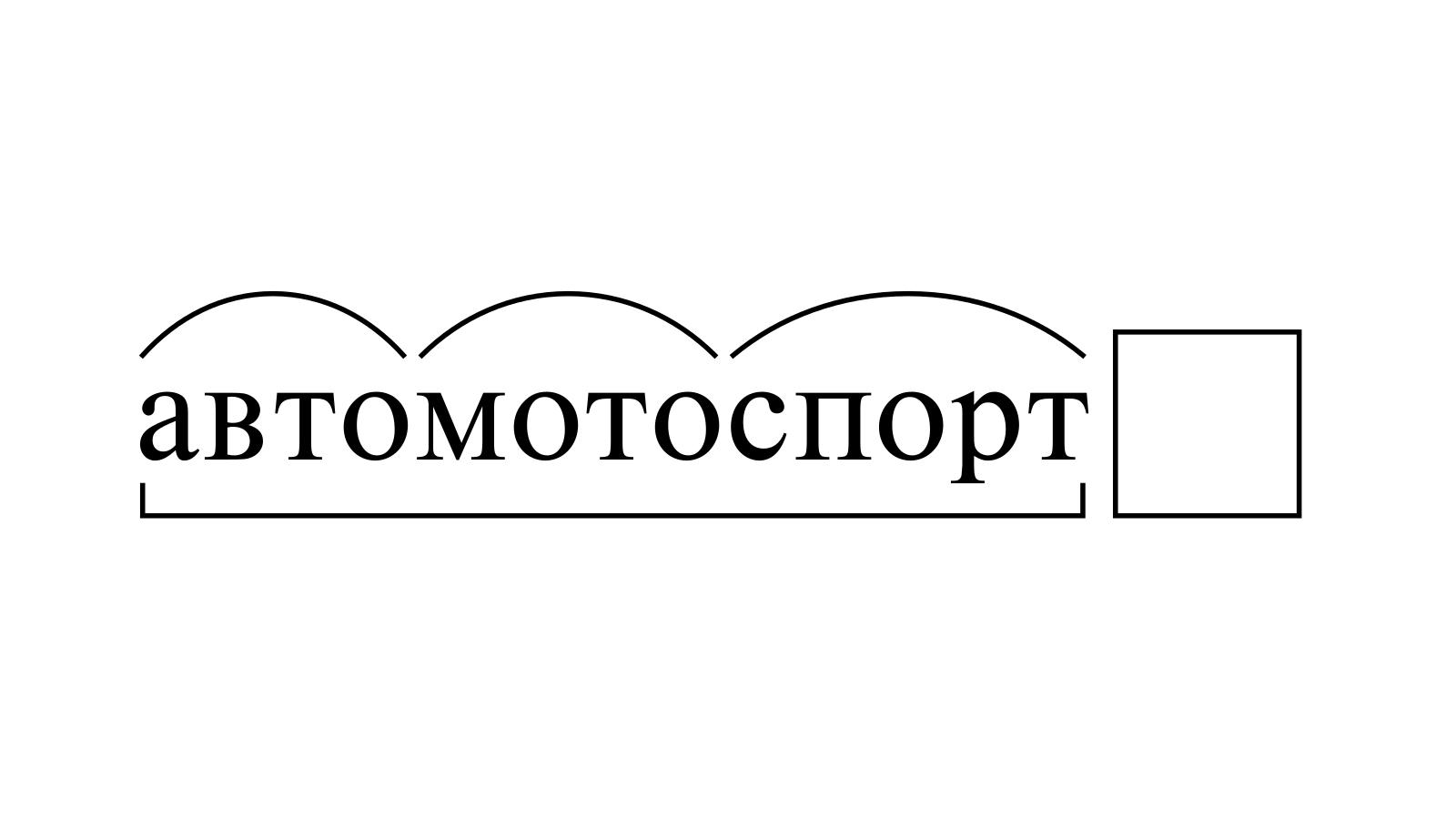 Разбор слова «автомотоспорт» по составу