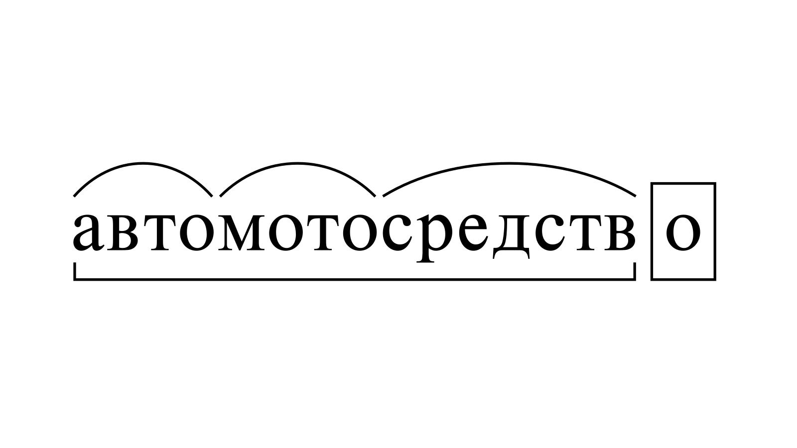 Разбор слова «автомотосредство» по составу