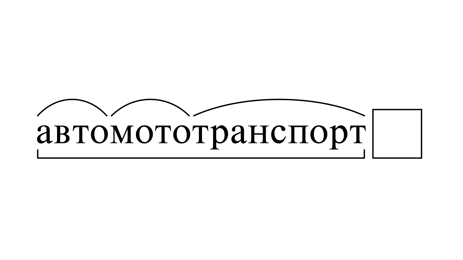 Разбор слова «автомототранспорт» по составу